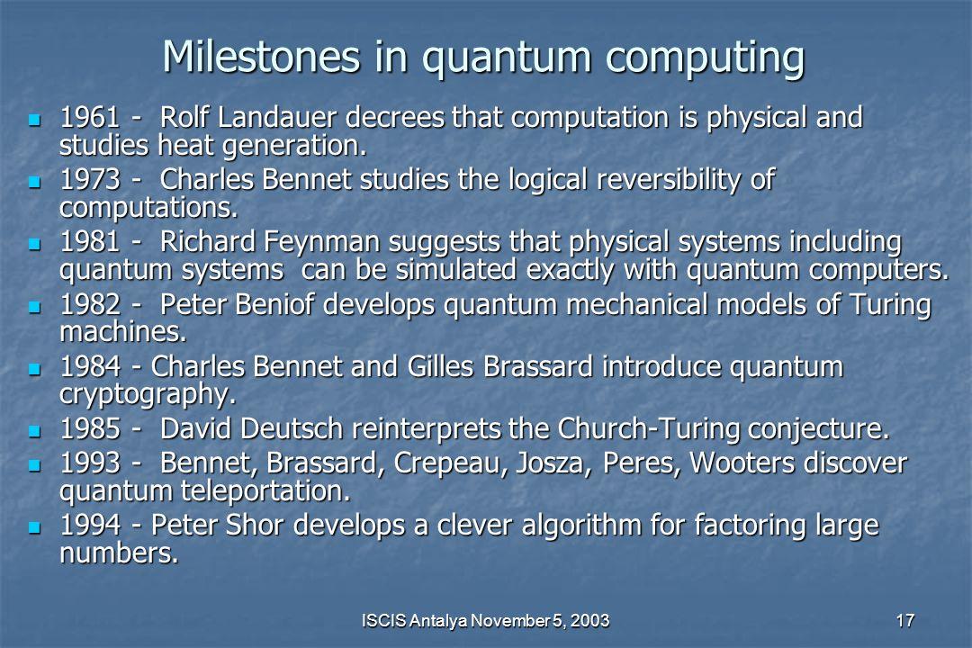 Milestones in quantum computing