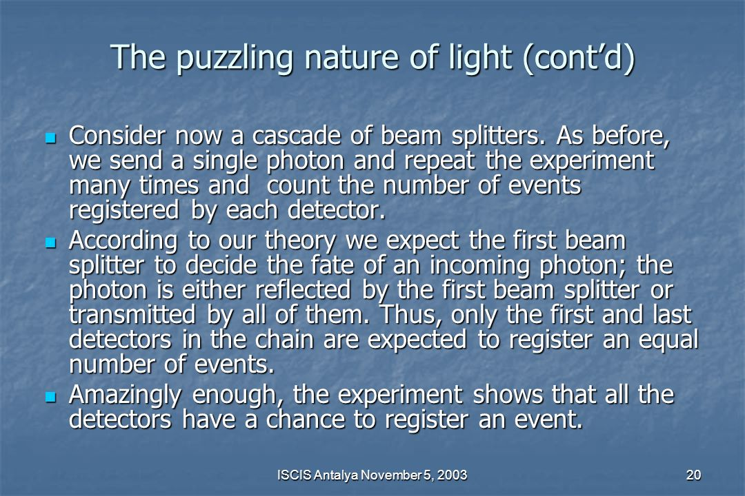 The puzzling nature of light (cont'd)