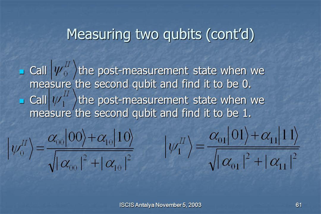 Measuring two qubits (cont'd)
