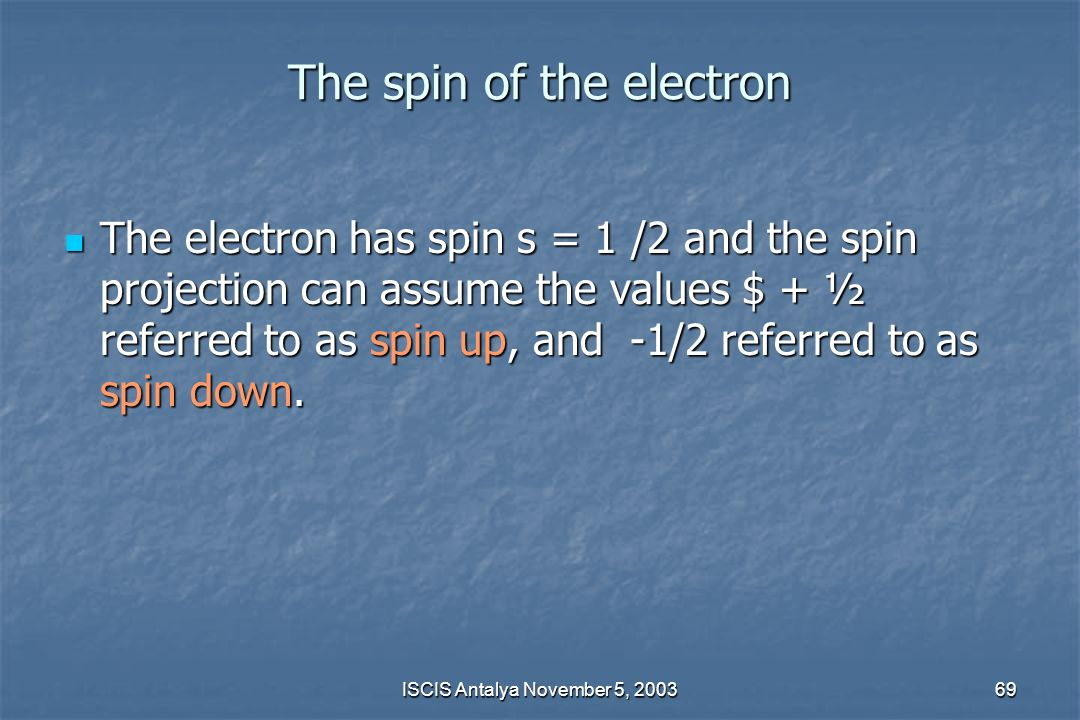 The spin of the electron