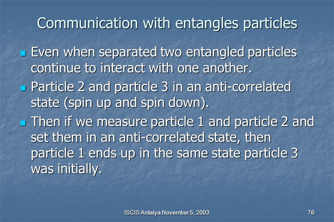 Communication with entangles particles