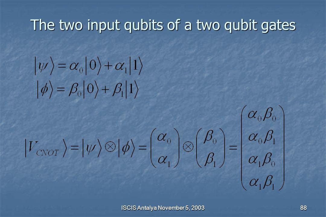 The two input qubits of a two qubit gates