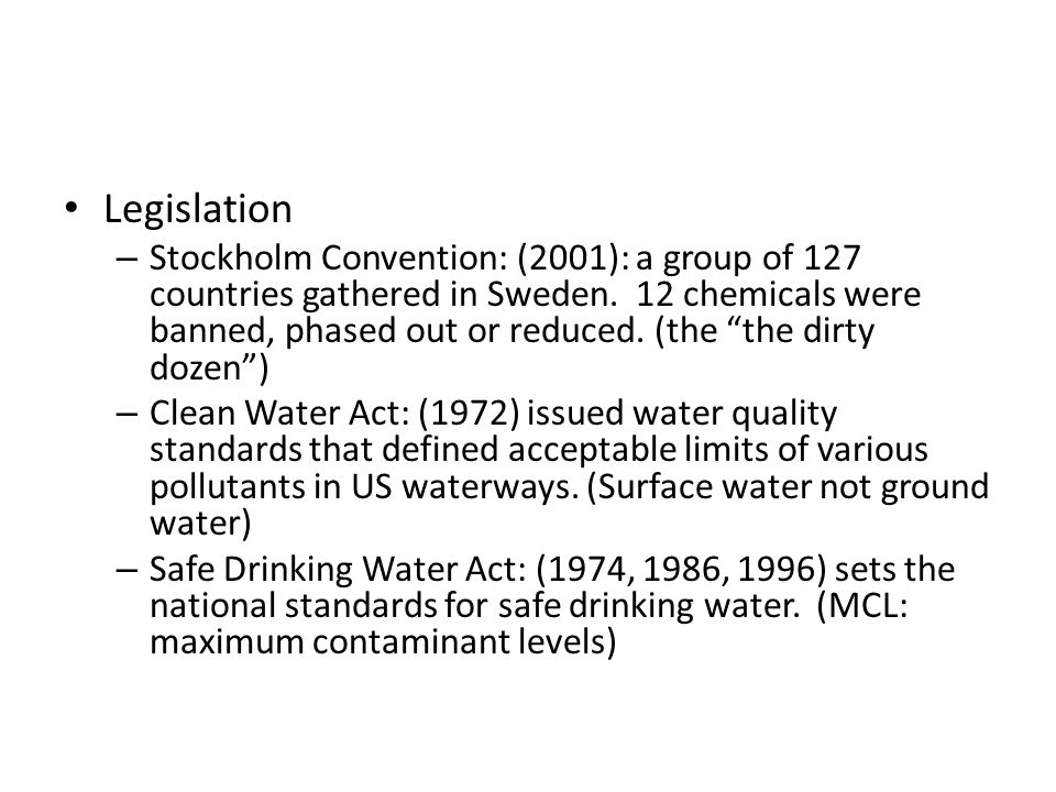 Mcl Maximum Contaminant Levels For The Safe Drinking Water Act