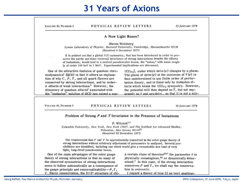 31 Years of Axions
