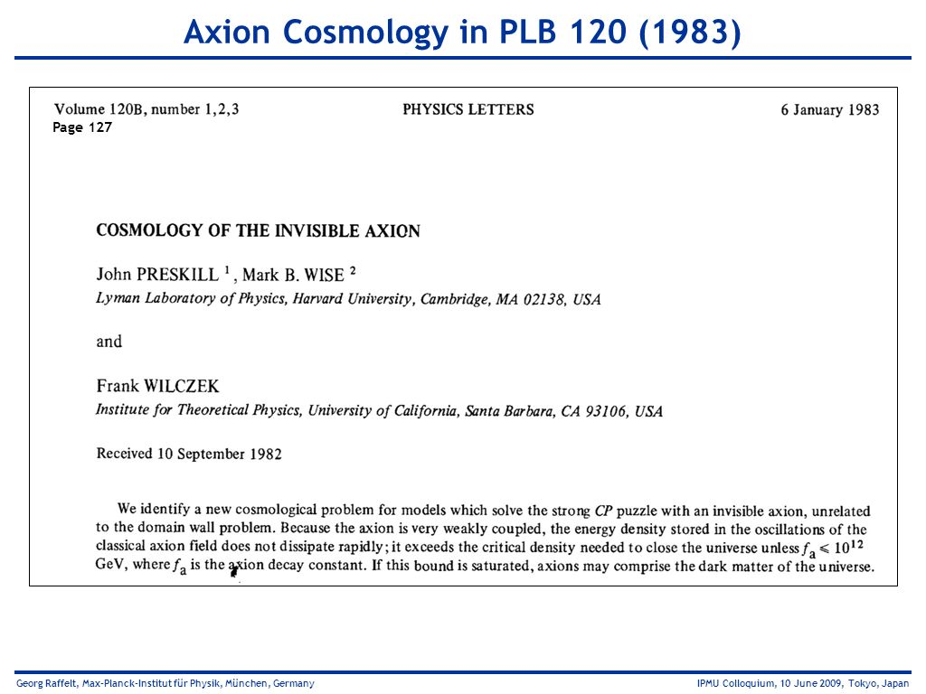 Axion Cosmology in PLB 120 (1983)