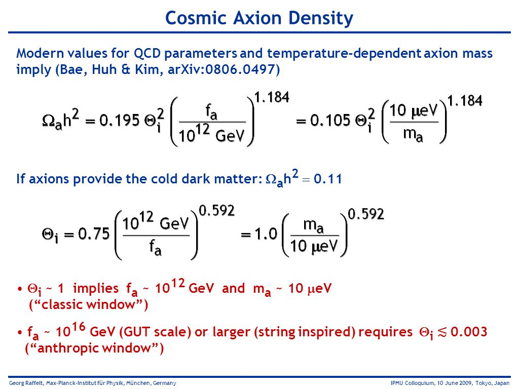 Cosmic Axion Density Modern values for QCD parameters and temperature-dependent axion mass. imply (Bae, Huh & Kim, arXiv:0806.0497)