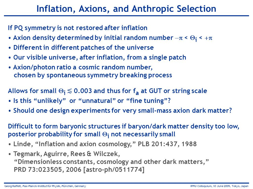 Inflation, Axions, and Anthropic Selection