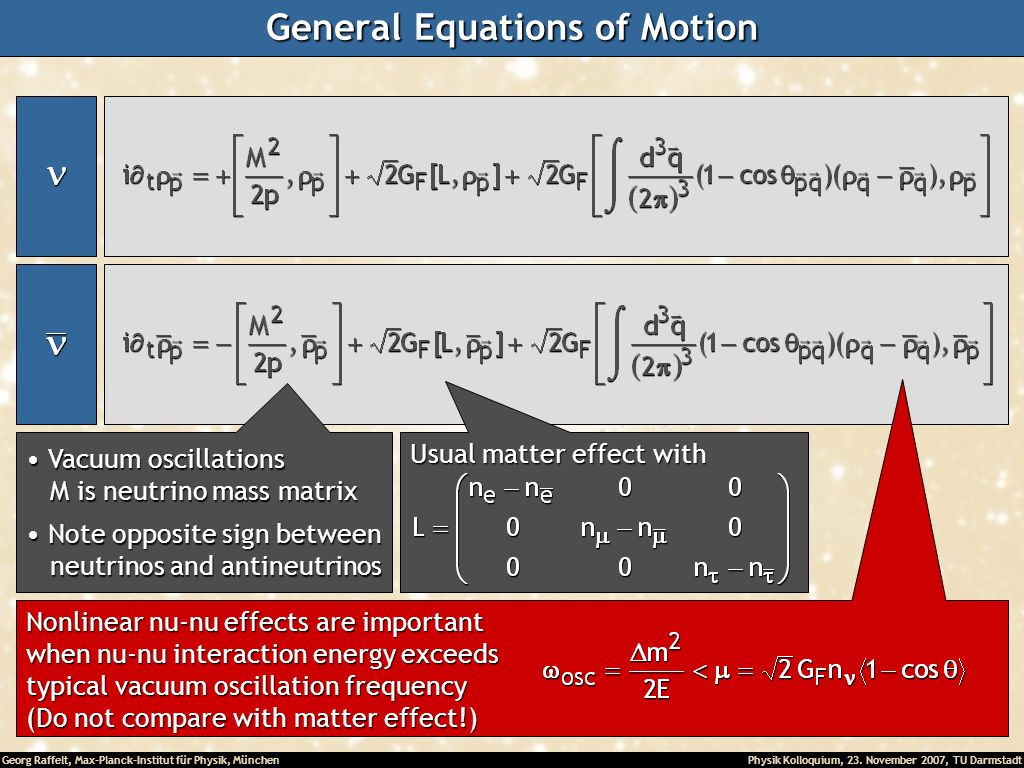 General Equations of Motion