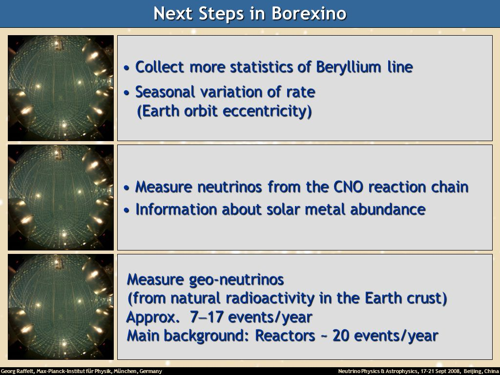 Next Steps in Borexino Collect more statistics of Beryllium line