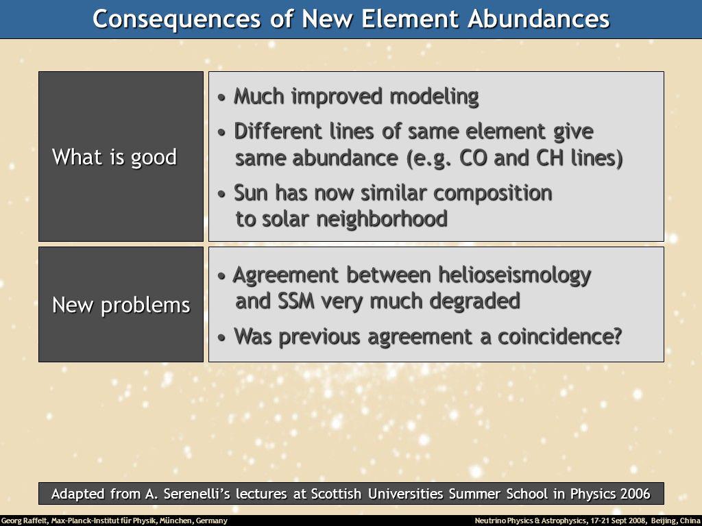 Consequences of New Element Abundances