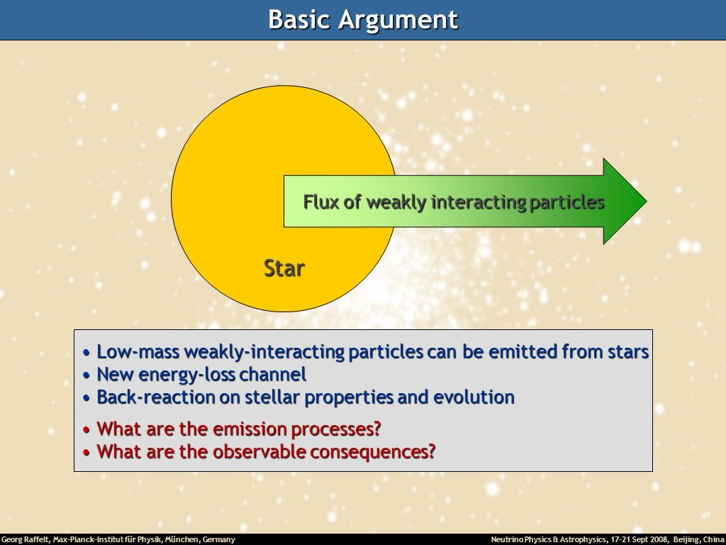 Basic Argument Star Flux of weakly interacting particles