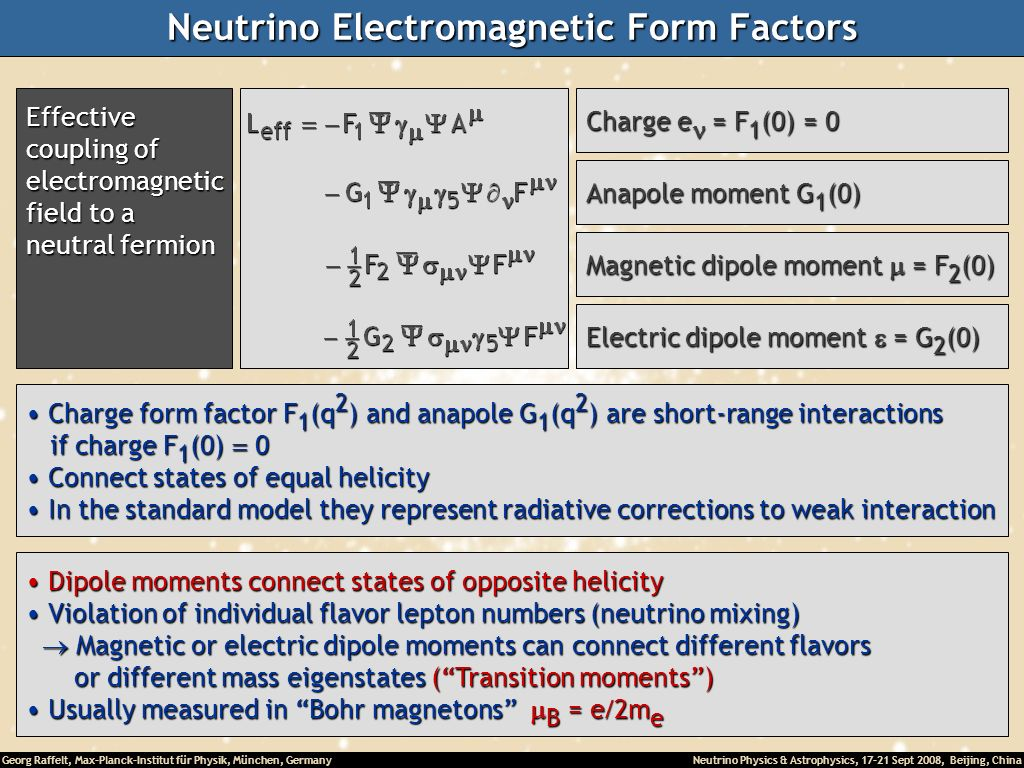 Neutrino Electromagnetic Form Factors
