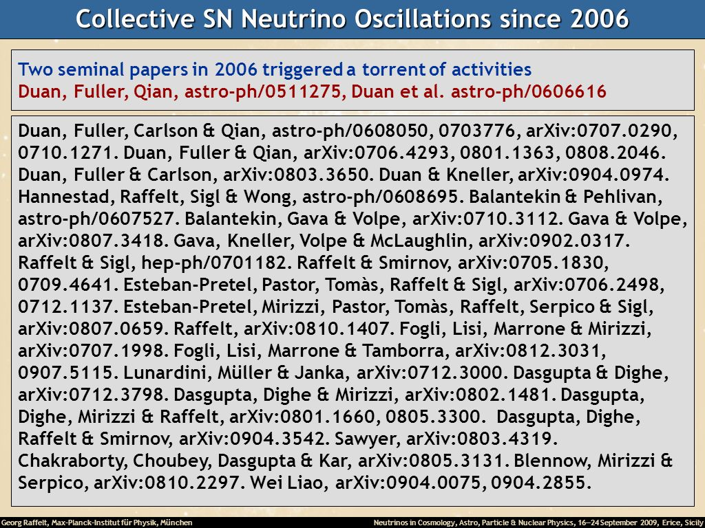 Collective SN Neutrino Oscillations since 2006