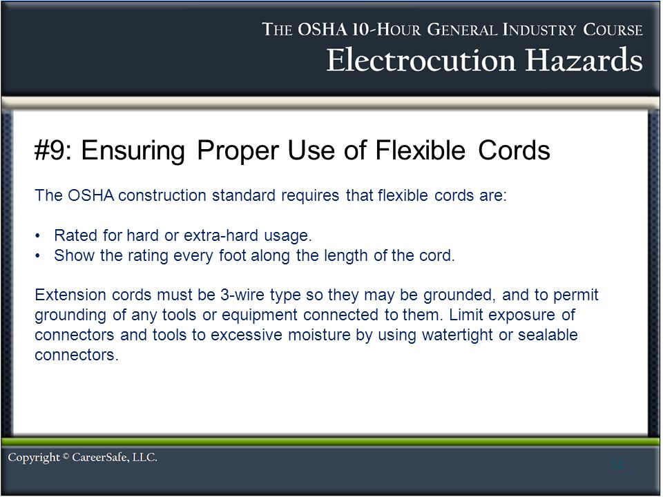 Electrocution hazards ppt video online download 9 ensuring proper use of flexible cords publicscrutiny Choice Image