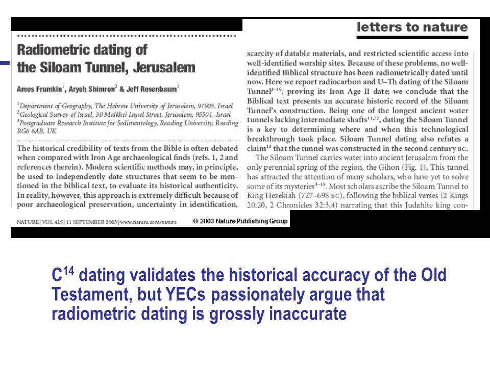 examples of inaccurate radiometric dating Radiometric dating or radioactive dating is a technique used to date materials such as rocks or carbon, in which trace radioactive impurities were selectively incorporated when they were formed the method compares the abundance of a naturally occurring radioactive isotope within the material to the abundance of its.