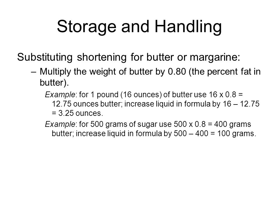 Substituting Margarine For Butter In Cakes