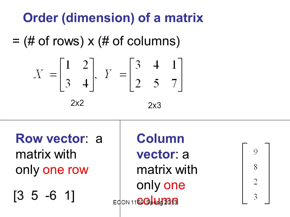 Order (dimension) of a matrix = (# of rows) x (# of columns)