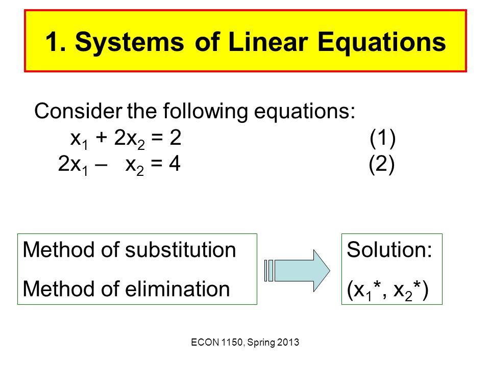 1. Systems of Linear Equations