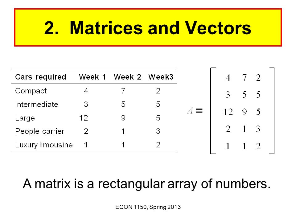 2. Matrices and Vectors = A matrix is a rectangular array of numbers.