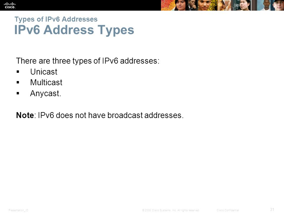ipv6 address type multicast The multicast address type replaces ipv4's broadcast address there, let's continue now there, let's continue now this is correct, since ipv6 will use multicast as much as possible.