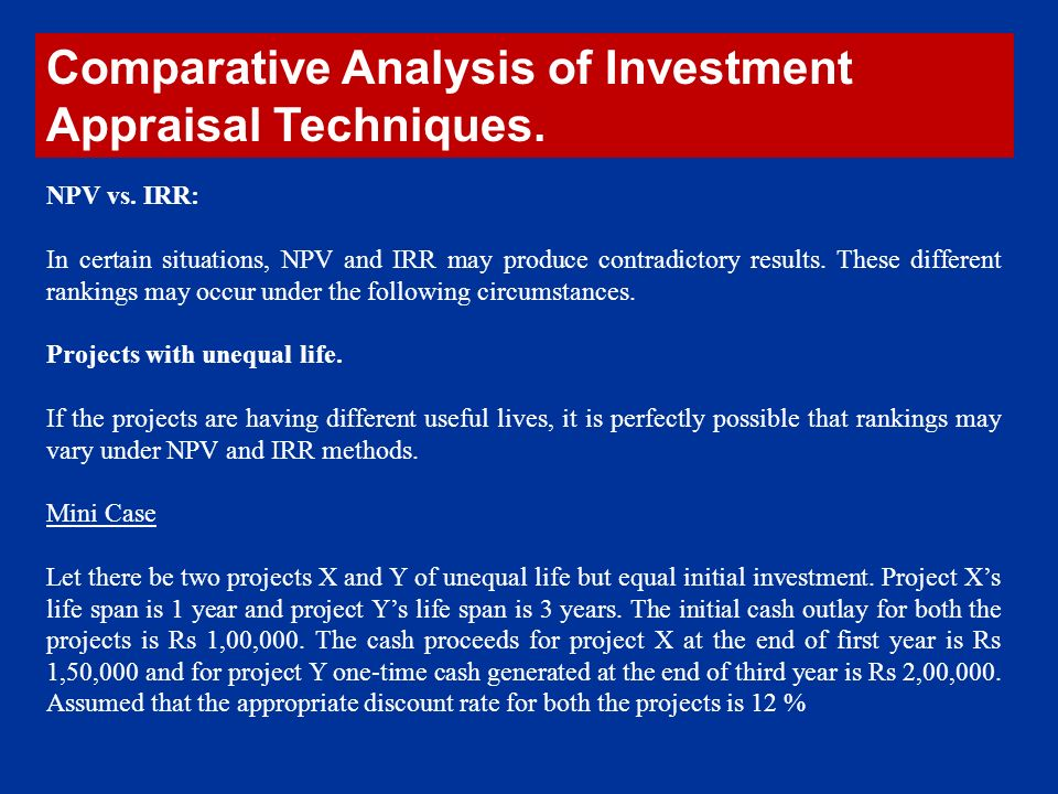 investment appraisal techniques Investment appraisal is used to evaluate projects from a financial standpoint what are the main techniques, and how do you apply them by grahame steven, lecturer and teaching fellow at.