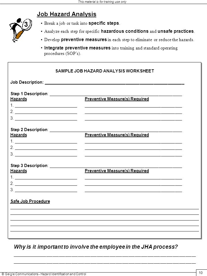 HAZARD IDENTIFICATION AND CONTROL ppt download – Job Hazard Analysis Worksheet