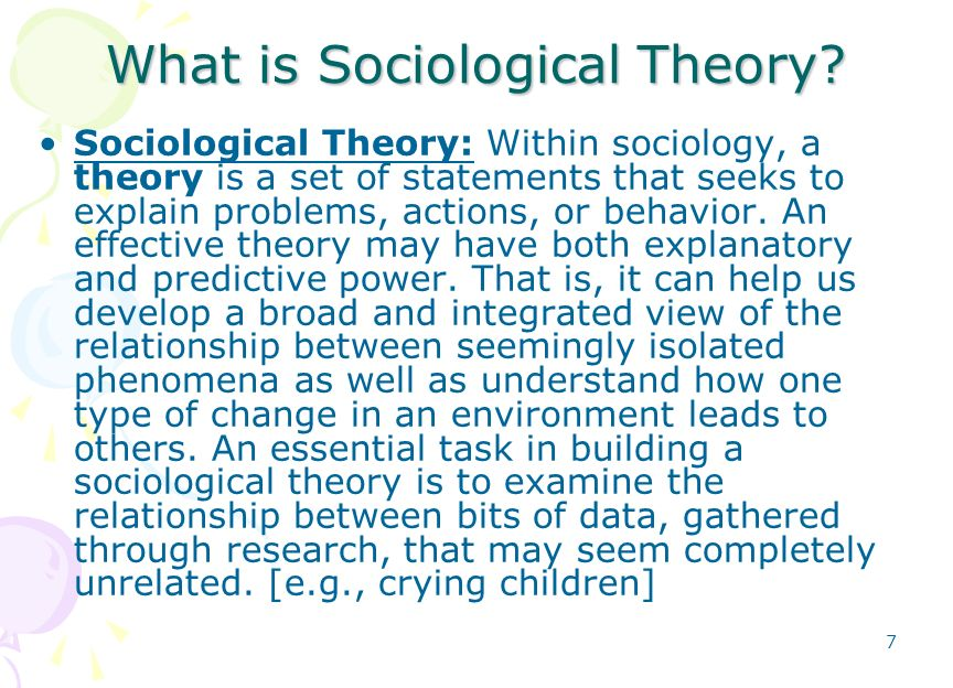 examine sociological theories that explain the A review of sociological theories on the  some sociologists have tended to explain poverty by referring to people's moral failings, fecklessness or dependency .