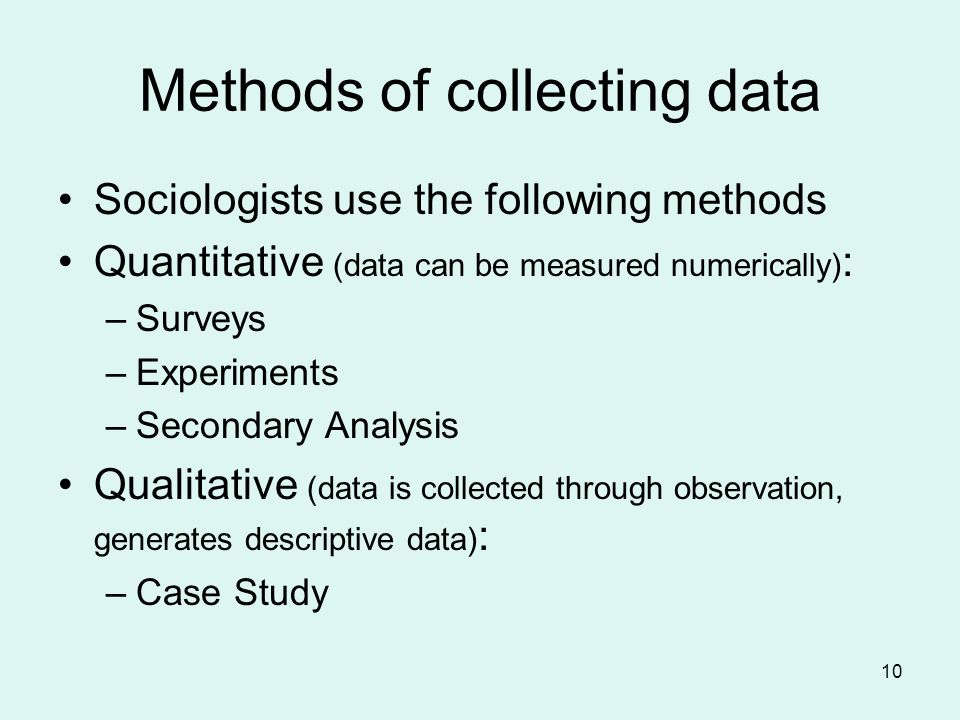 sociological methods for acquiring data Each has advantages and disadvantages as students, you may be required to  collect data at some time the method you choose will depend on a number of.