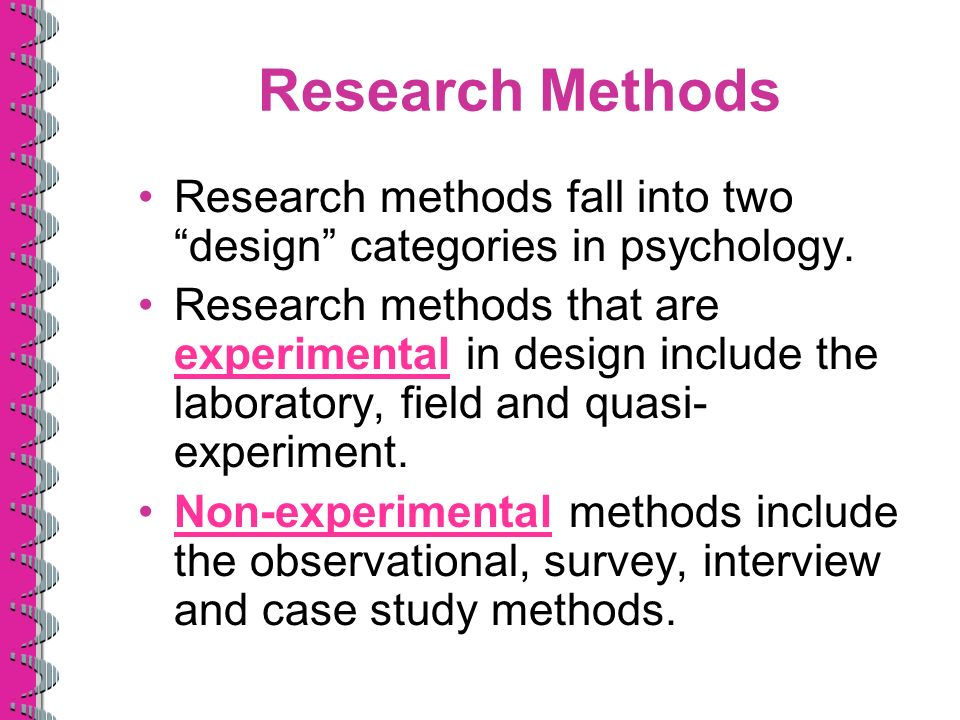 research methods used in psychology Psychology class notes for research methods and experimental psychology created by a psychology instructor just for psychology students.