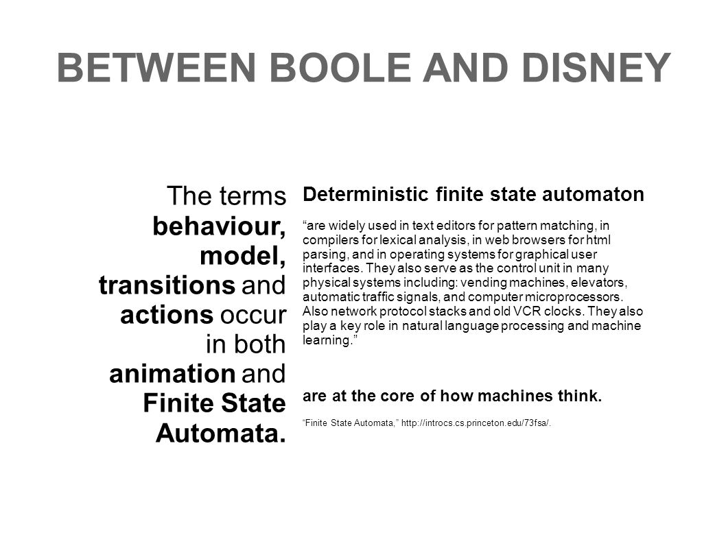 BETWEEN BOOLE AND DISNEY
