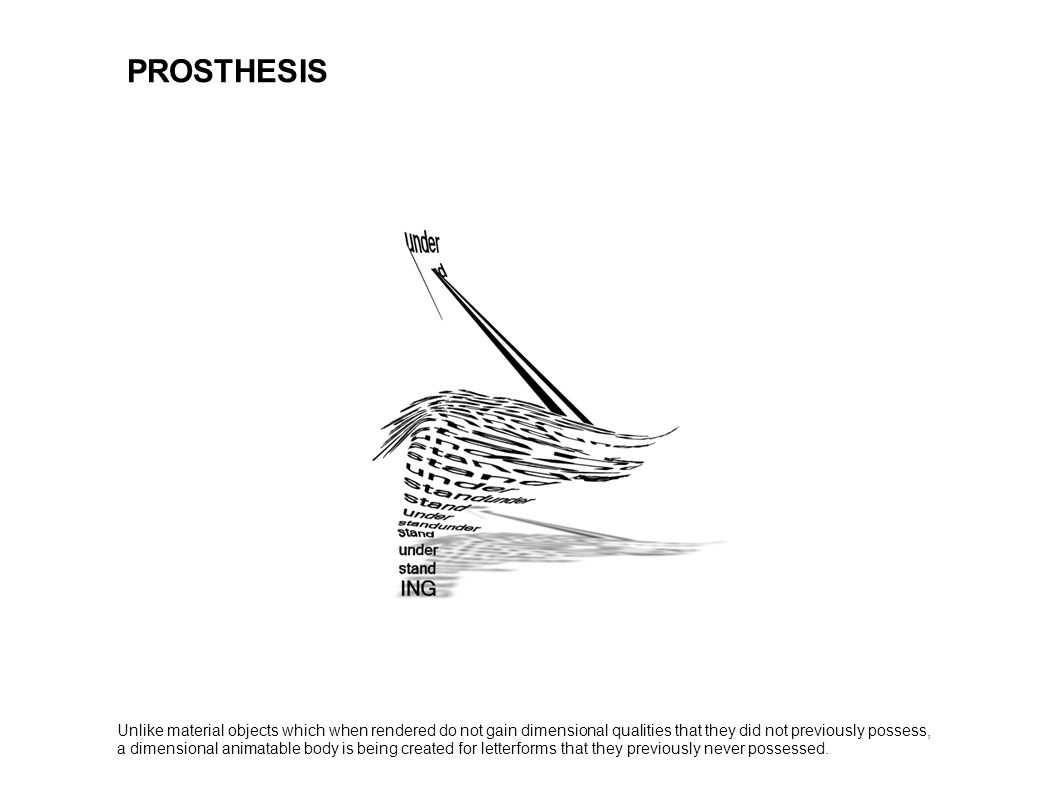 PROSTHESIS Unlike material objects which when rendered do not gain dimensional qualities that they did not previously possess,