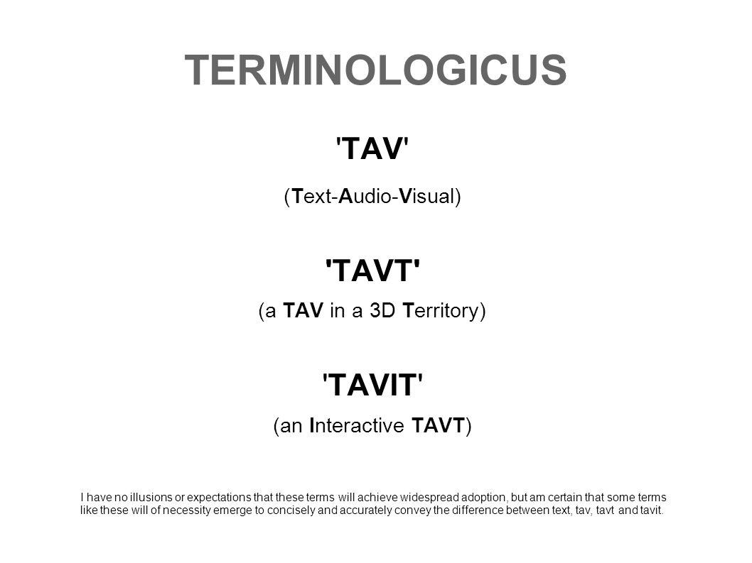 TERMINOLOGICUS TAV TAVT TAVIT (Text-Audio-Visual)
