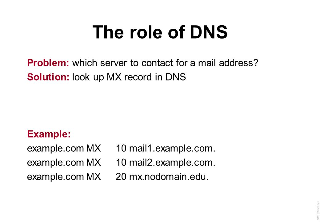 The role of DNS Problem: which server to contact for a mail address