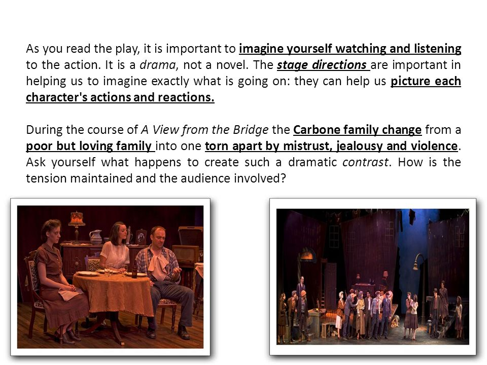 how does arthur miller create tension in a view from a bridge A view from the bridge, written by american playwright arthur miller, was first  staged on  the play is set in 1950s america, in an italian american  neighborhood near the brooklyn  create a book download as pdf printable  version.