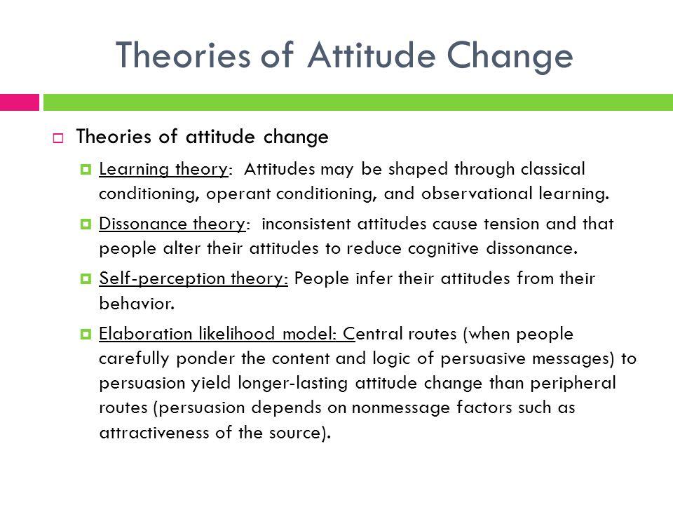 attitude theory Attitude–behavior consistency, the principle of compatibility, and organ donation: a classic innovation jason t siegel, mario a navarro, and cara n tan.