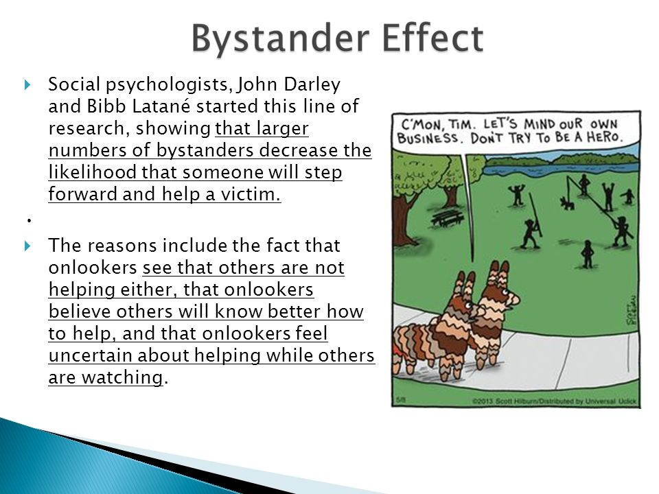 """a summary on darley and latanes analysis of the bystanders reactions Discuss how the bystander effect has ambiguity and cost-benefit analysis"""" (weber 1992 286) darley and latane darley, j & latane, b (1968) bystander."""