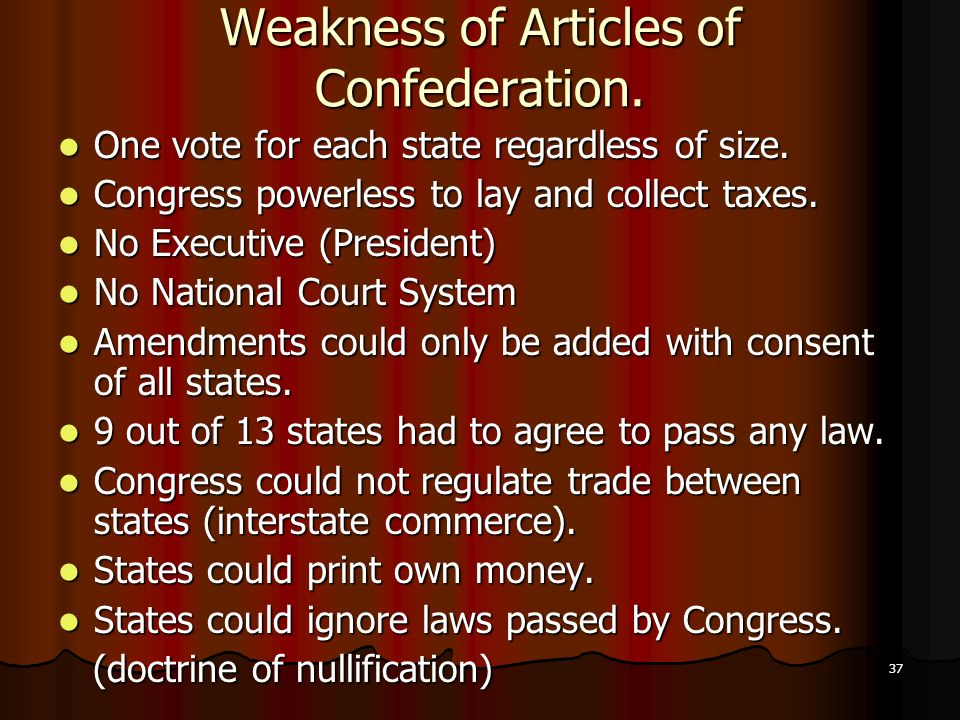 articles associated with confederation deficiencies a particular election each and every state