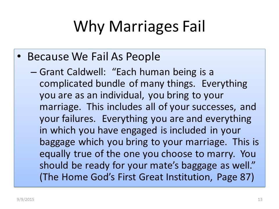 essay on why marriages fail According to gagoomal (2009), arranged marriage is broadly defined as unions in which people other than the bride and groom, typically parents or other family members, play important or decisive roles in determining who marries whom (p 590) many people assume that an arranged marriage will fail when the potential.