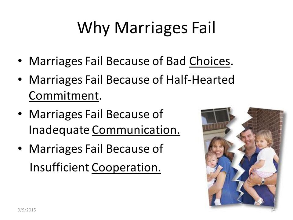 essay on why marriages fail Divorced by 30: why do so many young marriages come to an early end divorce rates are highest among couples in their 20s what causes 'starter marriages' to fall apart, and what can you learn.