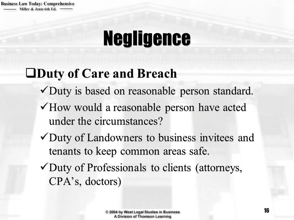 breach duty of care in nursing Negligence, the 'duty of care,' and fault sameer would not have a good liability claim because the store had no duty to protect customers who ignore employees.