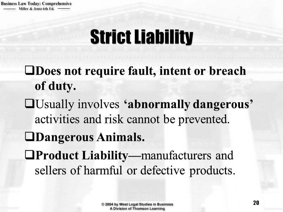 strict liability for defective product Review intended to ensure strict liability regime works  for the product liability  for damage caused by a defective product while also.