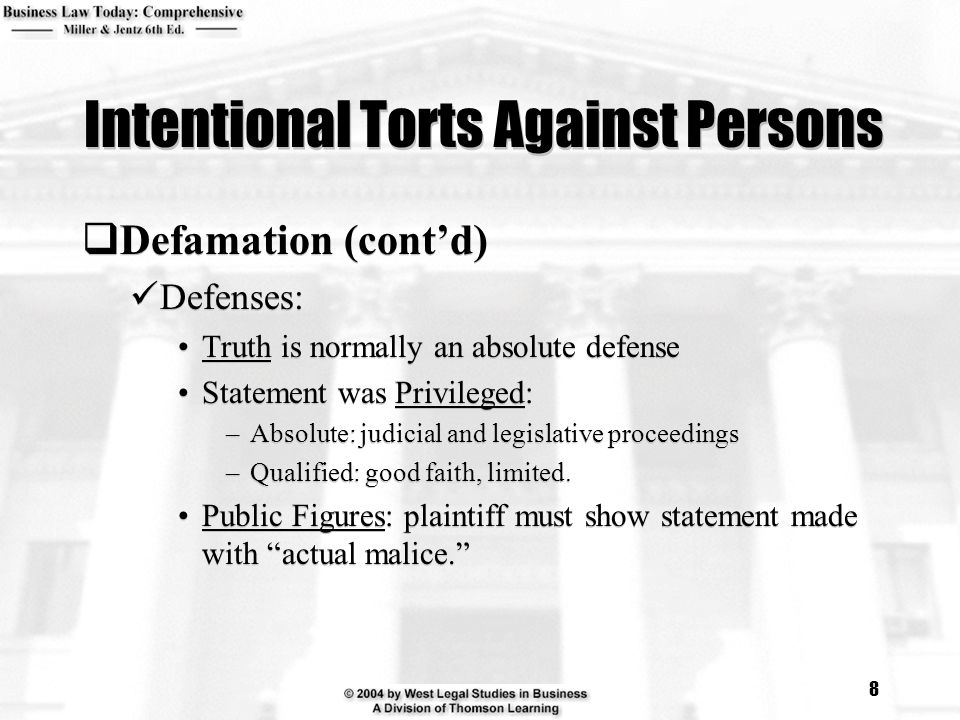 """chapter 4 intentional torts One of the most obvious intentional torts is assault and battery  albers super  markets, inc (section 75 """"cases"""") shows, the defendant must be shown to   tortious interference with a contract can be established by proving four elements."""