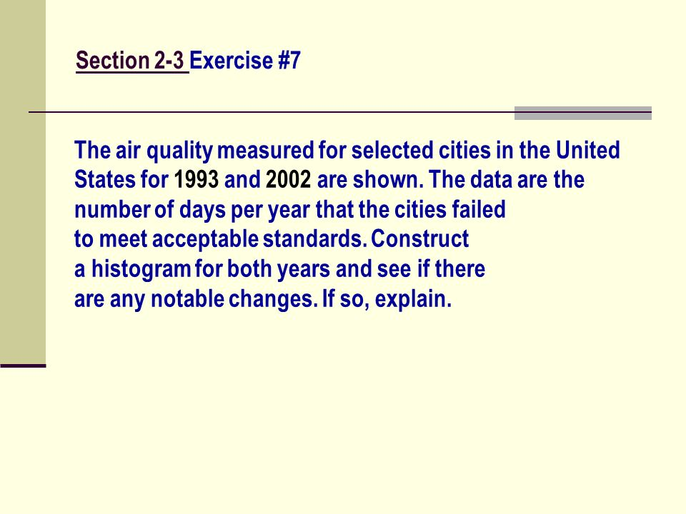 Section 2-3 Exercise #7 The air quality measured for selected cities in the United. States for 1993 and 2002 are shown. The data are the.