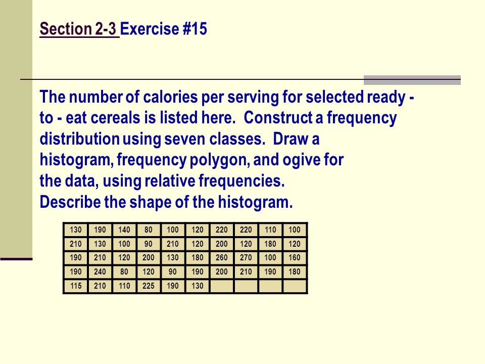 The number of calories per serving for selected ready -
