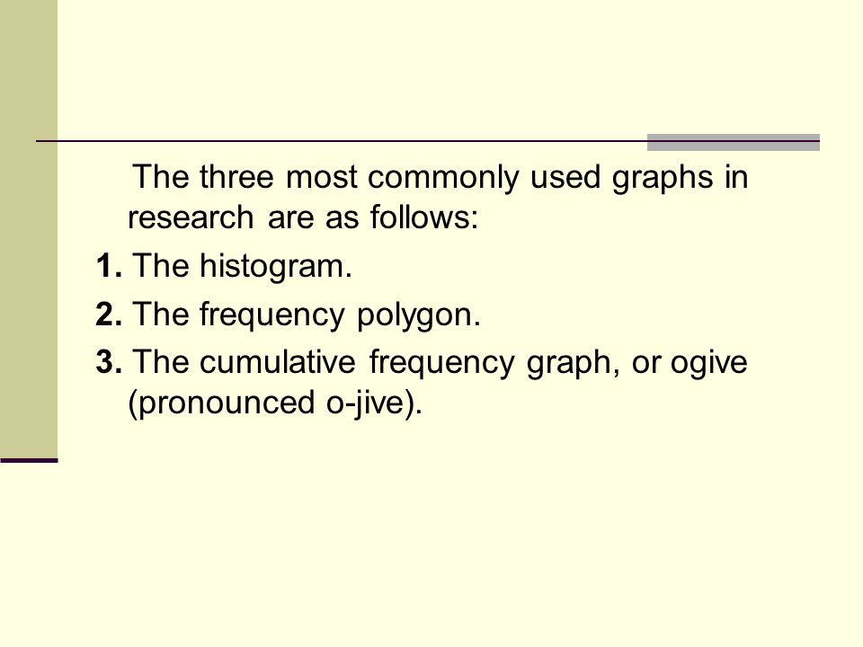 The three most commonly used graphs in research are as follows: