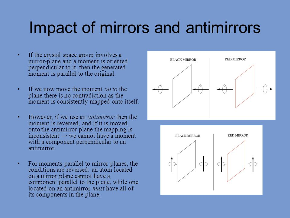 Impact of mirrors and antimirrors