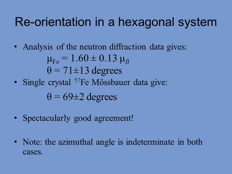 Re-orientation in a hexagonal system