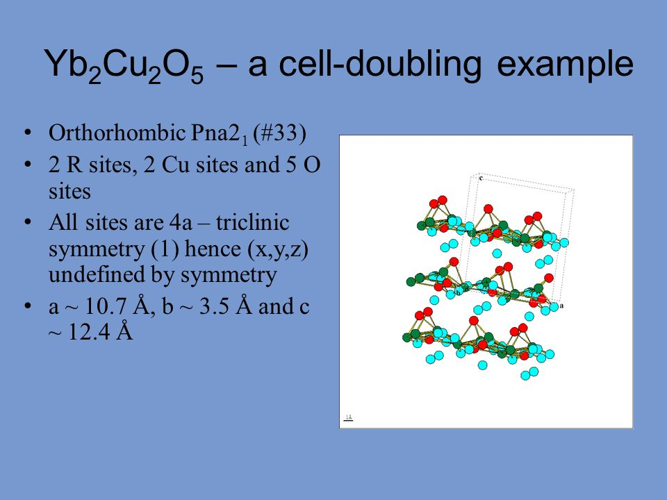 Yb2Cu2O5 – a cell-doubling example