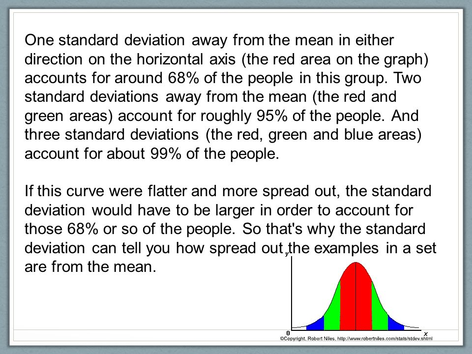 Statistical analysis how do we make sense of the data we collect one standard deviation away from the mean in either direction on the horizontal axis the ccuart Image collections