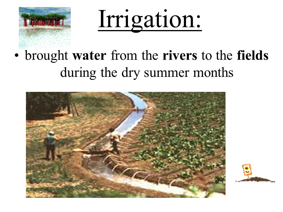 Irrigation: brought water from the rivers to the fields during the dry summer months.
